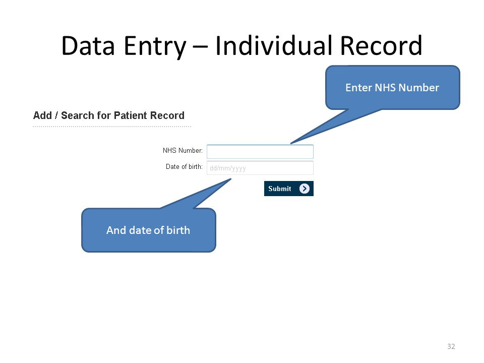 Data Entry – Individual Record Enter NHS Number And date of birth 32