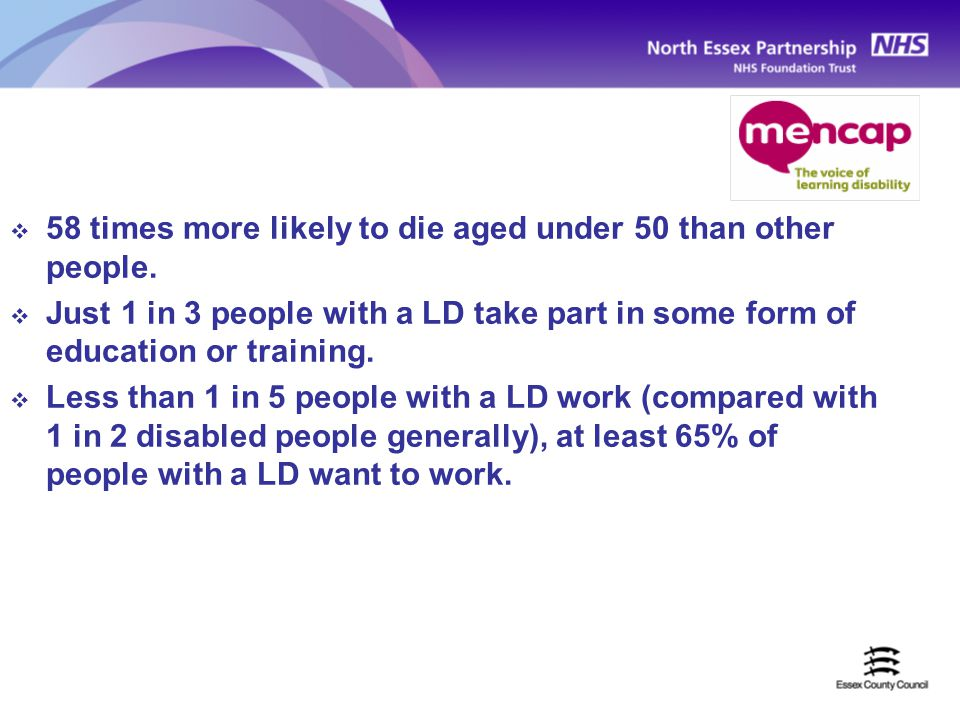  58 times more likely to die aged under 50 than other people.