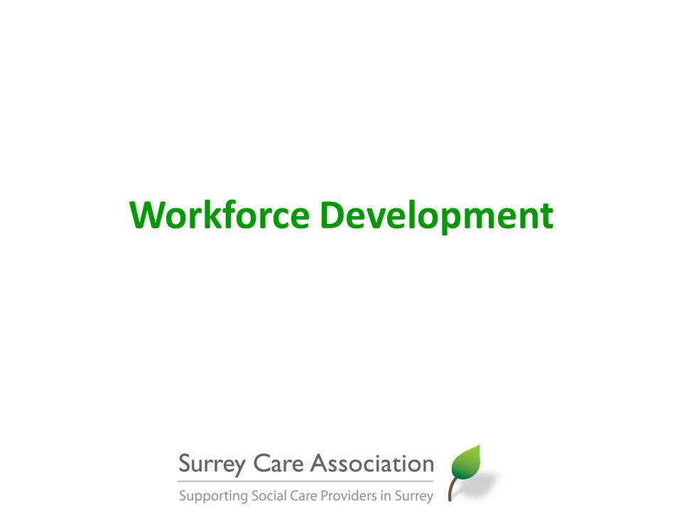 Workforce Development & Recruitment SCA Training Programme update Core, specialist and management short courses 2011-12: 139 courses with 2,143 places 2012-13: 123 courses with 1,968 places Cost per place has decreased from £56 to £54 (includes planning & commissioning, trainers, venues, refreshments, admin, IT, quality assurance, evaluation)
