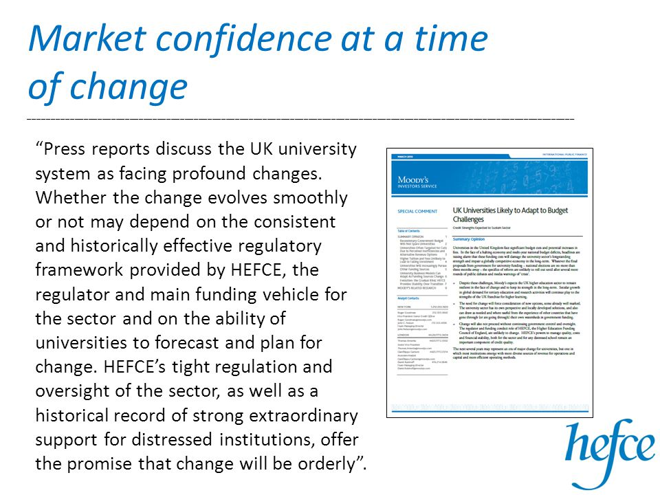 Market confidence at a time of change ________________________________________________________________________________________________________________