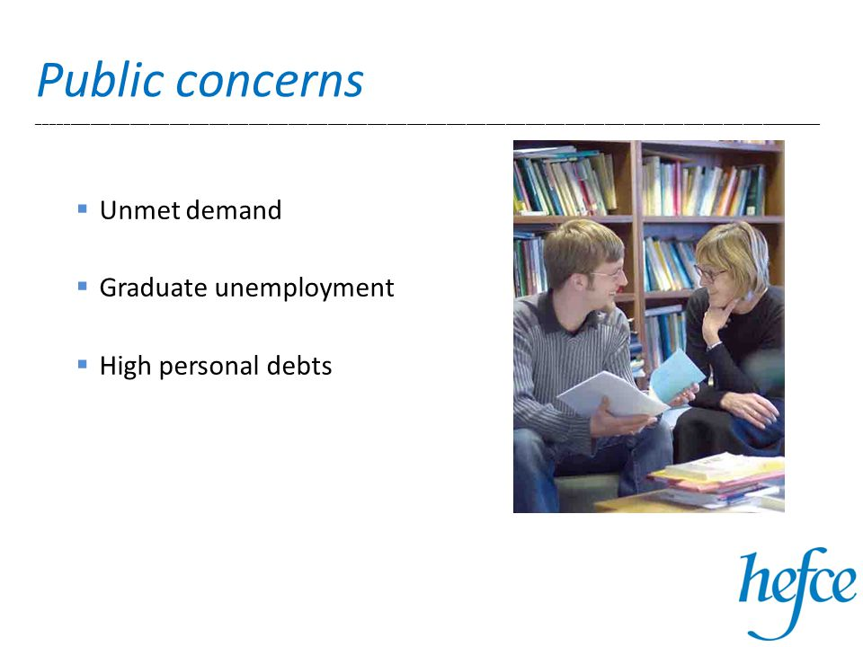 Public concerns _______________________________________________________________________________________________________________________  Unmet demand  Graduate unemployment  High personal debts