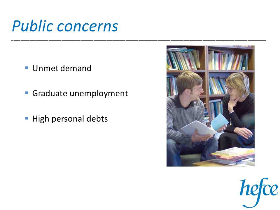 Public concerns _______________________________________________________________________________________________________________________  Unmet demand  Graduate unemployment  High personal debts