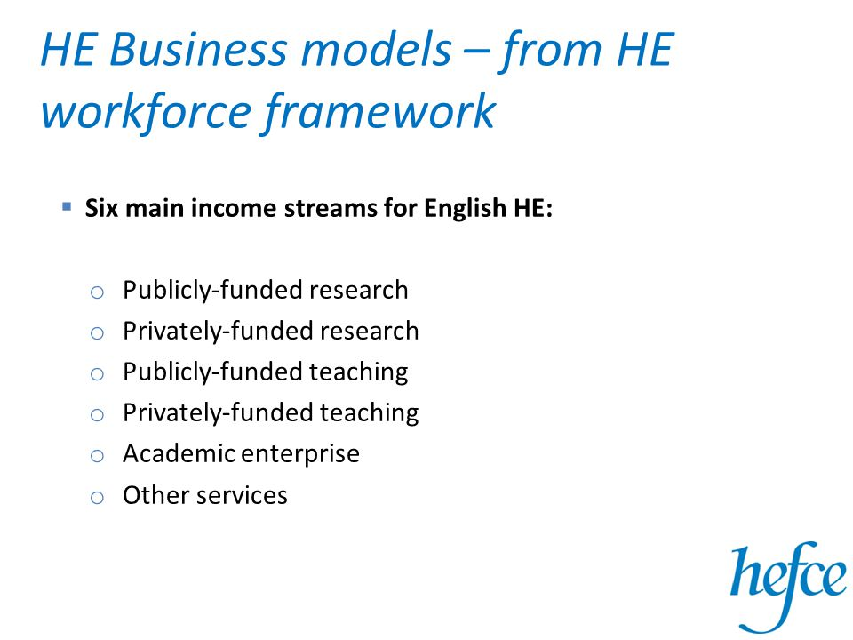 HE Business models – from HE workforce framework  Six main income streams for English HE: o Publicly-funded research o Privately-funded research o Publicly-funded teaching o Privately-funded teaching o Academic enterprise o Other services