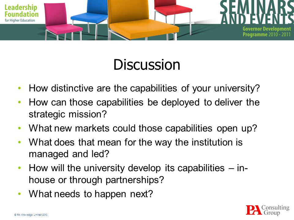 Discussion How distinctive are the capabilities of your university.