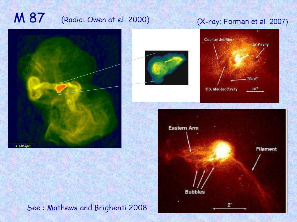 10 (X-ray : Forman et al. 2007) See : Mathews and Brighenti 2008 M 87 (Radio: Owen at el. 2000)