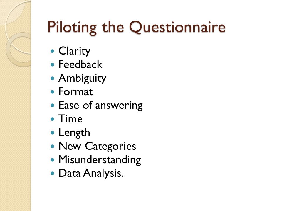 Piloting the Questionnaire Clarity Feedback Ambiguity Format Ease of answering Time Length New Categories Misunderstanding Data Analysis.