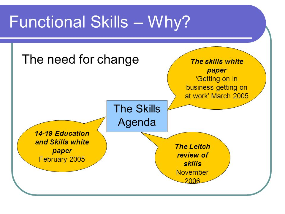 Functional Skills – Why? The need for change The Skills Agenda The skills white paper 'Getting on in business getting on at work' March 2005 The Leitc