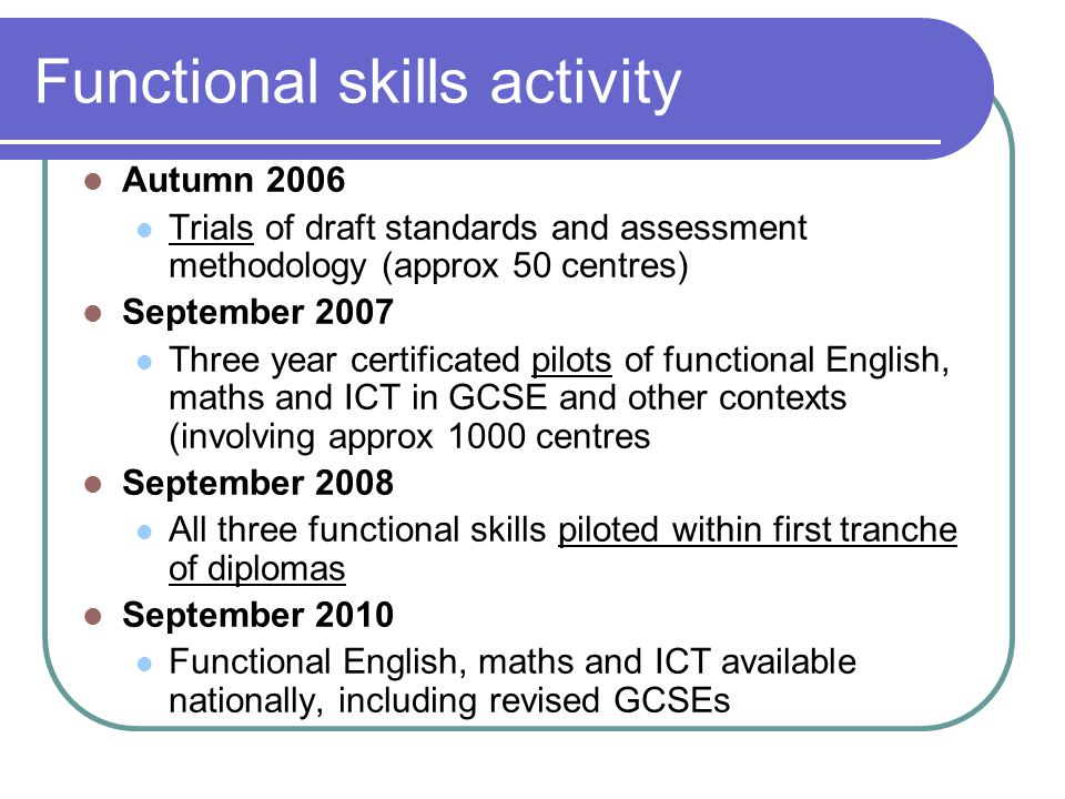 Functional skills activity Autumn 2006 Trials of draft standards and assessment methodology (approx 50 centres) September 2007 Three year certificated