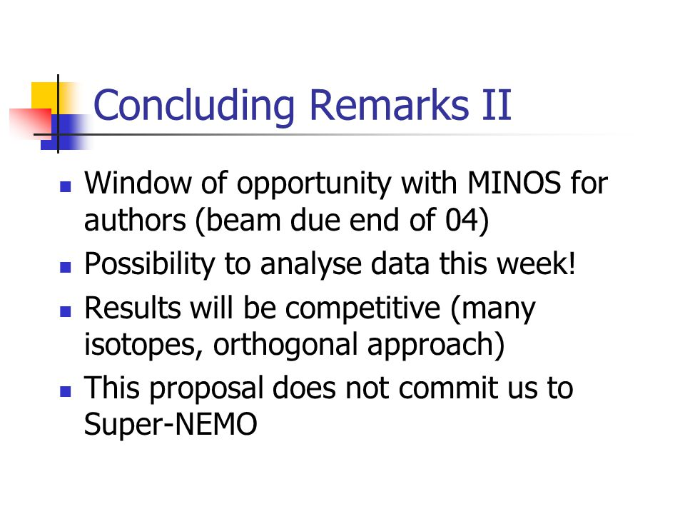 Concluding Remarks II Window of opportunity with MINOS for authors (beam due end of 04) Possibility to analyse data this week.