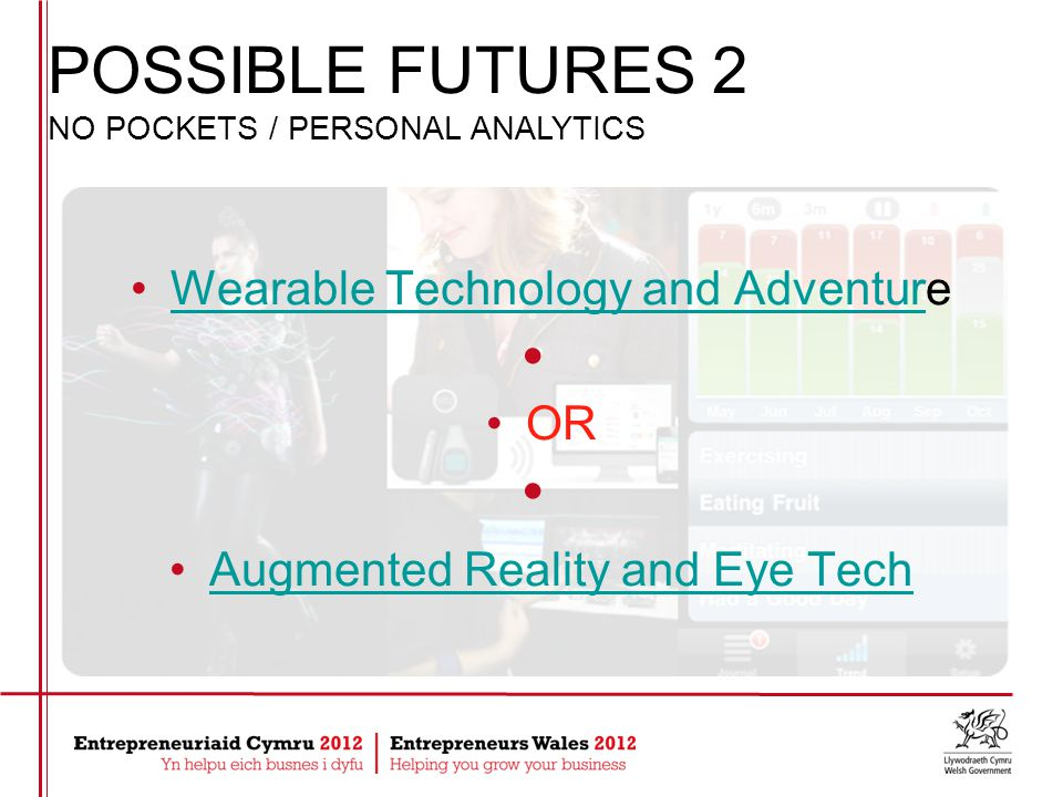 Wearable Technology and AdventureWearable Technology and Advent OR Augmented Reality and Eye Tech POSSIBLE FUTURES 2 NO POCKETS / PERSONAL ANALYTICS