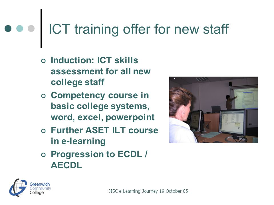 JISC e-Learning Journey 19 October 05 ICT training offer for new staff Induction: ICT skills assessment for all new college staff Competency course in