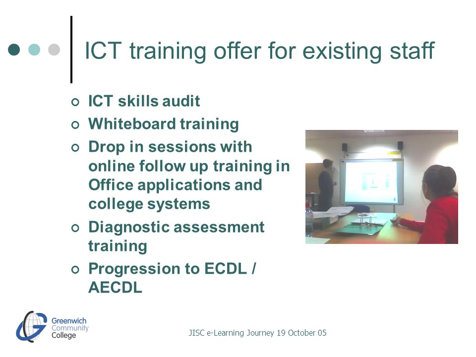 JISC e-Learning Journey 19 October 05 ICT training offer for existing staff ICT skills audit Whiteboard training Drop in sessions with online follow up training in Office applications and college systems Diagnostic assessment training Progression to ECDL / AECDL