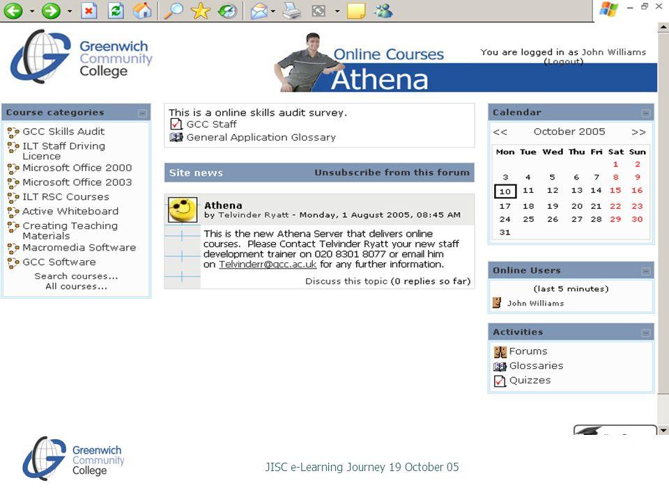 JISC e-Learning Journey 19 October 05