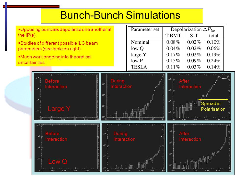 Bunch-Bunch Simulations  Opposing bunches depolarise one another at the IP(s).