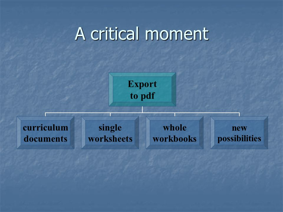 A critical moment Export to pdf curriculum documents single worksheets whole workbooks new possibilities
