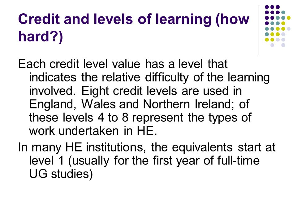 Credit and levels of learning (how hard ) Each credit level value has a level that indicates the relative difficulty of the learning involved.