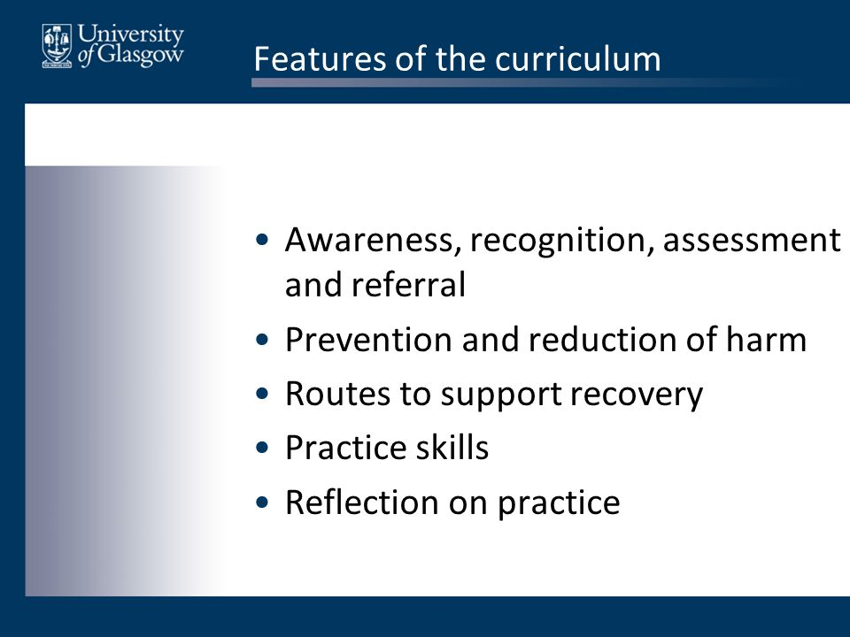 Features of the curriculum Awareness, recognition, assessment and referral Prevention and reduction of harm Routes to support recovery Practice skills Reflection on practice