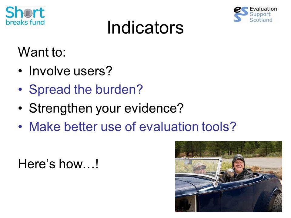 Soft outcomes Need to break down into proxy indicators  Take each outcome.