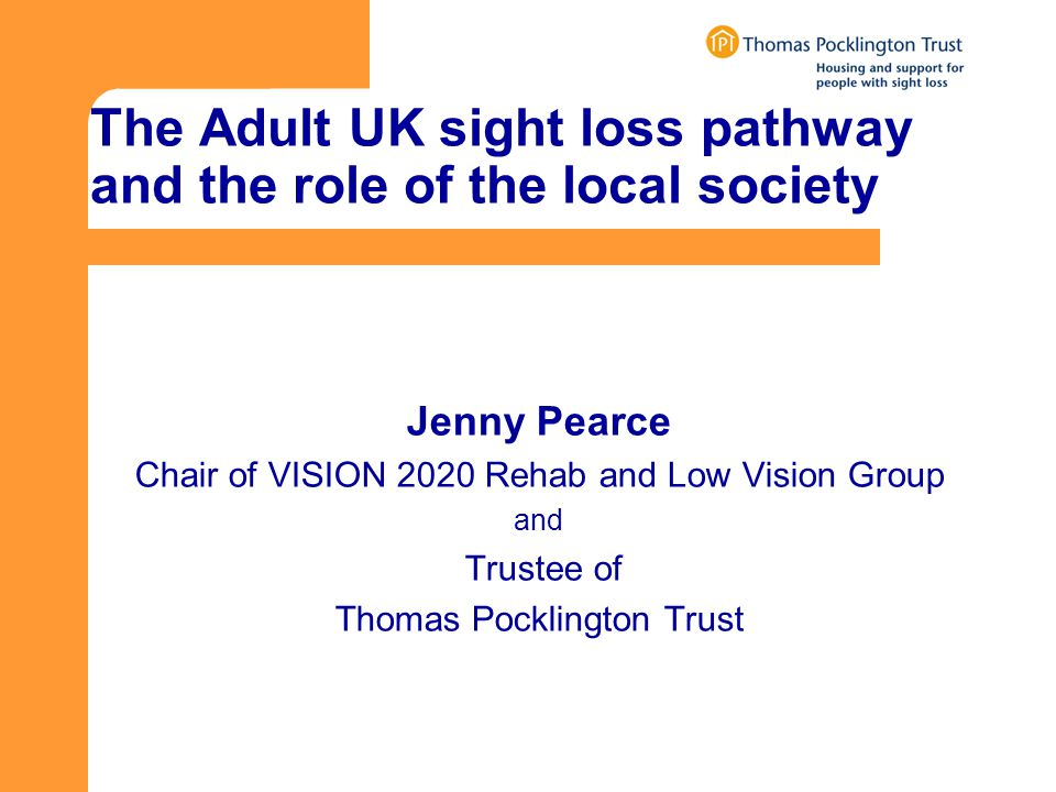 The Adult UK sight loss pathway and the role of the local society Jenny Pearce Chair of VISION 2020 Rehab and Low Vision Group and Trustee of Thomas Pocklington Trust