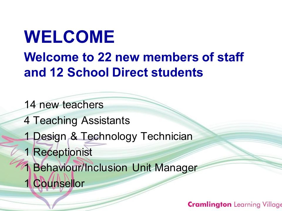 WELCOME Welcome to 22 new members of staff and 12 School Direct students 14 new teachers 4 Teaching Assistants 1 Design & Technology Technician 1 Receptionist 1 Behaviour/Inclusion Unit Manager 1 Counsellor