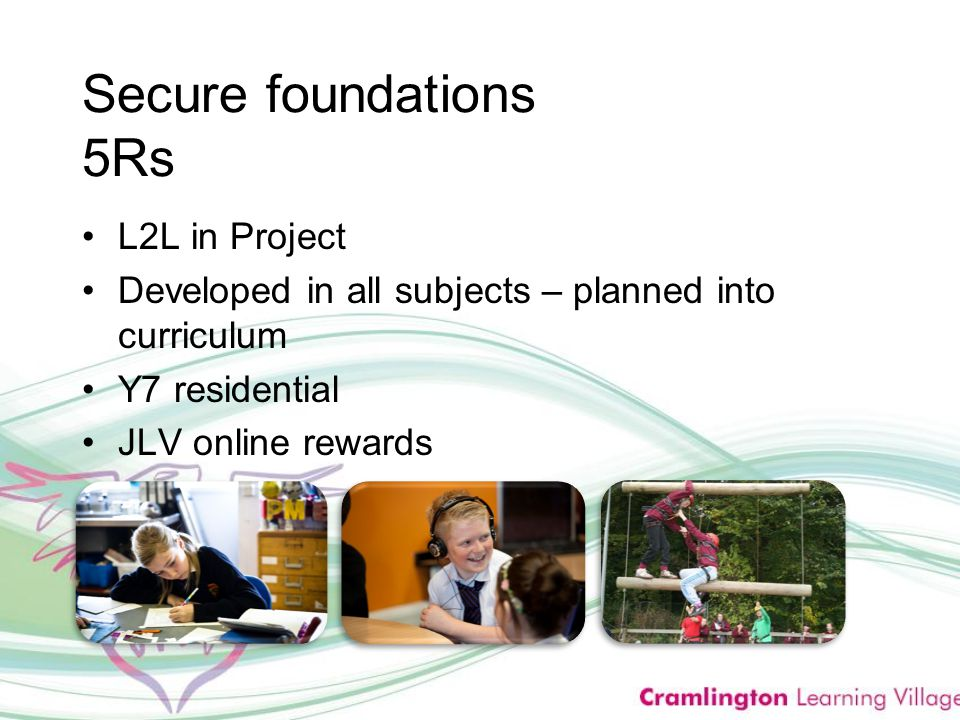 Secure foundations 5Rs L2L in Project Developed in all subjects – planned into curriculum Y7 residential JLV online rewards