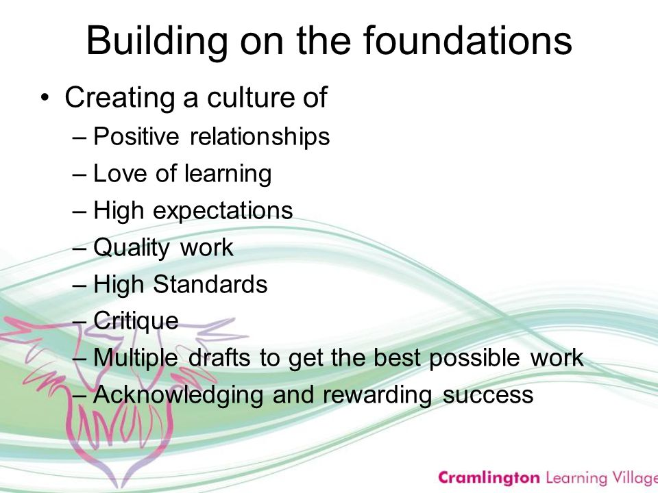 Building on the foundations Creating a culture of –Positive relationships –Love of learning –High expectations –Quality work –High Standards –Critique –Multiple drafts to get the best possible work –Acknowledging and rewarding success