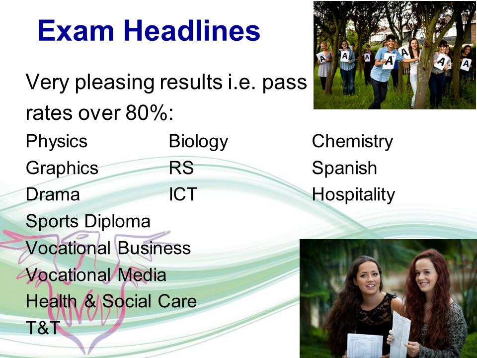 Exam Headlines Very pleasing results i.e.