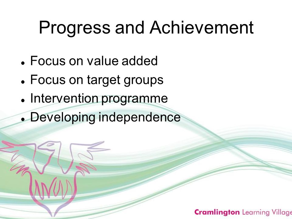 Progress and Achievement Focus on value added Focus on target groups Intervention programme Developing independence