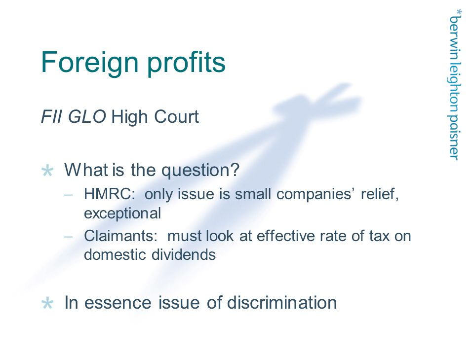 Foreign profits FII GLO High Court What is the question.