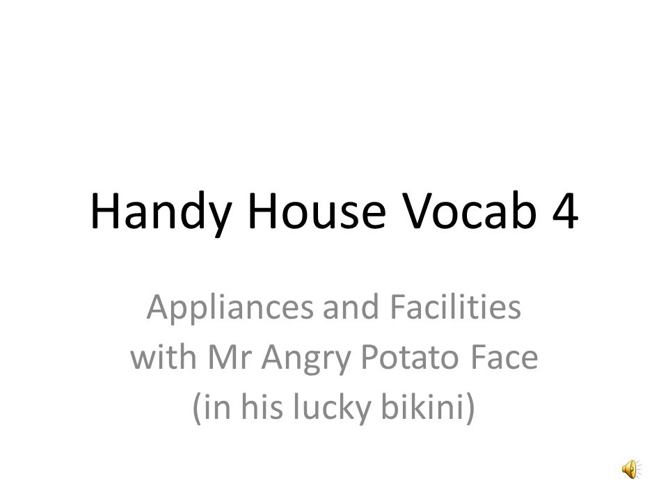 Handy House Vocab 4 Appliances and Facilities with Mr Angry Potato ...