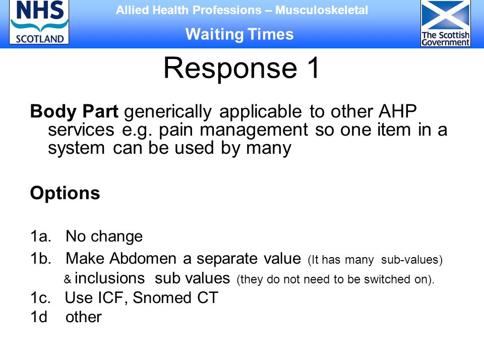 Response 1 Body Part generically applicable to other AHP services e.g.