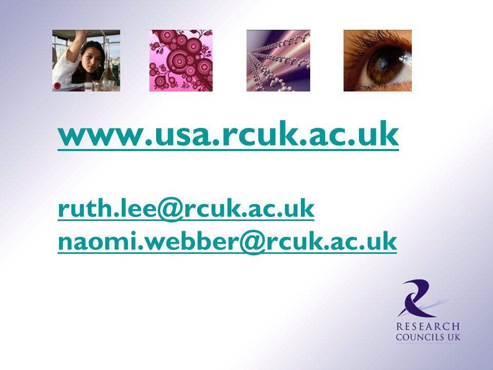 www.usa.rcuk.ac.uk ruth.lee@rcuk.ac.uk naomi.webber@rcuk.ac.uk