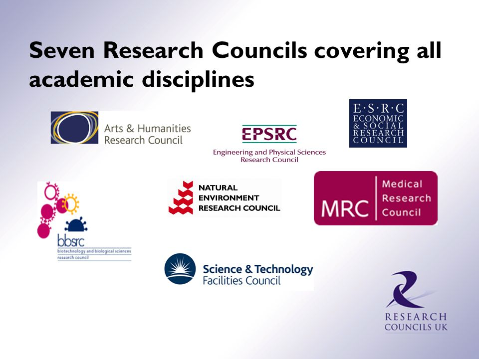 The UK Research Councils Work together as Research Councils UK Major public funders of basic research in the UK Total budget around $4.4 billion in 2008-09 Funded via Department for Business, Innovation and Skills, but 'arm's length' from government; independent in choice of which research to support 11,000 staff (most of whom are active scientists at Research Council Institutes & Science and Innovation Campuses)