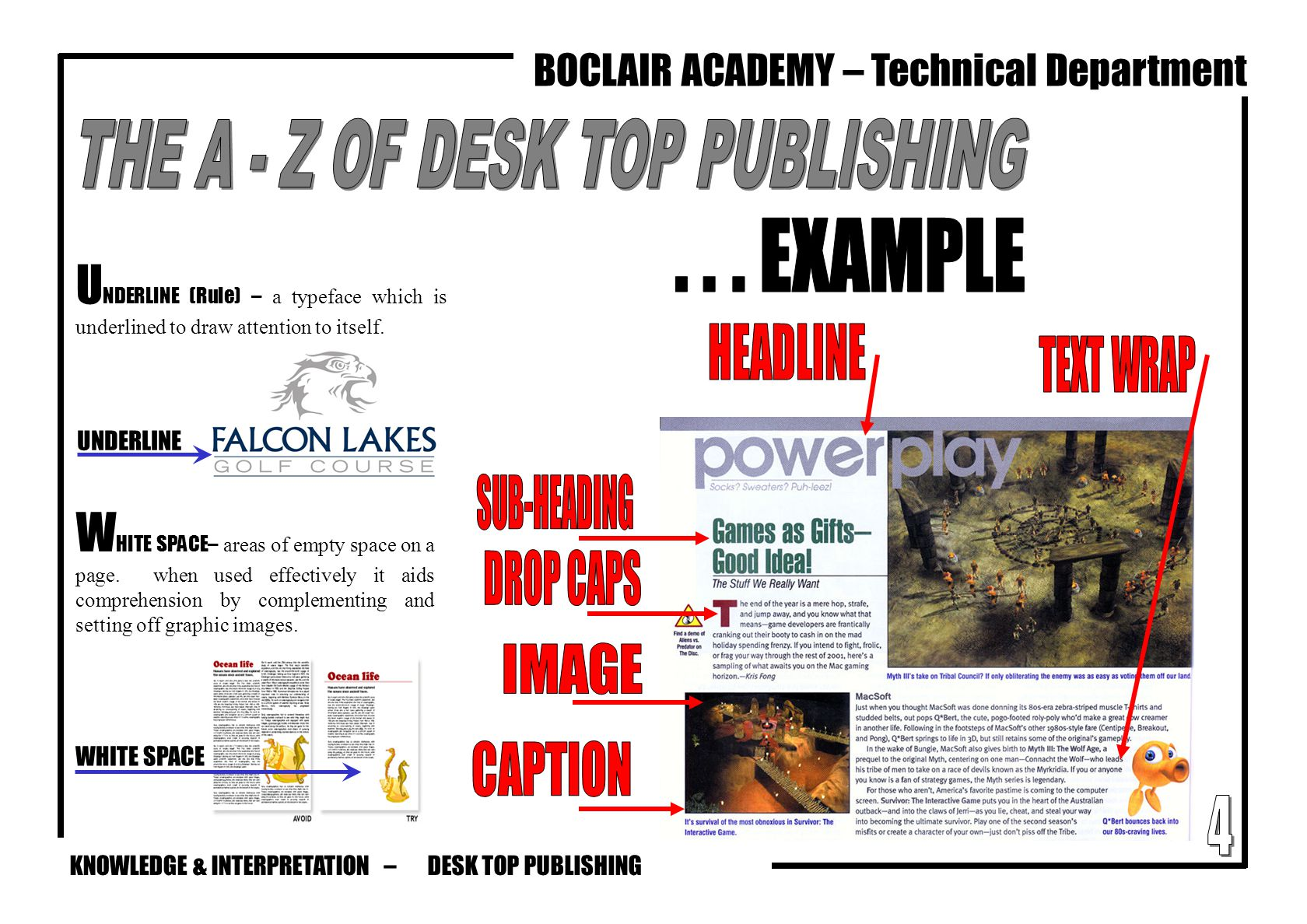 KNOWLEDGE & INTERPRETATION – BOCLAIR ACADEMY – Technical Department U NDERLINE (Rule) – a typeface which is underlined to draw attention to itself. W