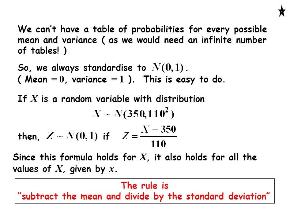 We can't have a table of probabilities for every possible mean and variance ( as we would need an infinite number of tables! ) So, we always standardi