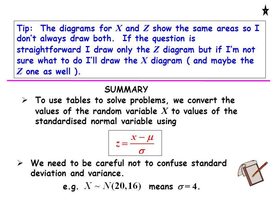 Tip: The diagrams for X and Z show the same areas so I don't always draw both. If the question is straightforward I draw only the Z diagram but if I'm