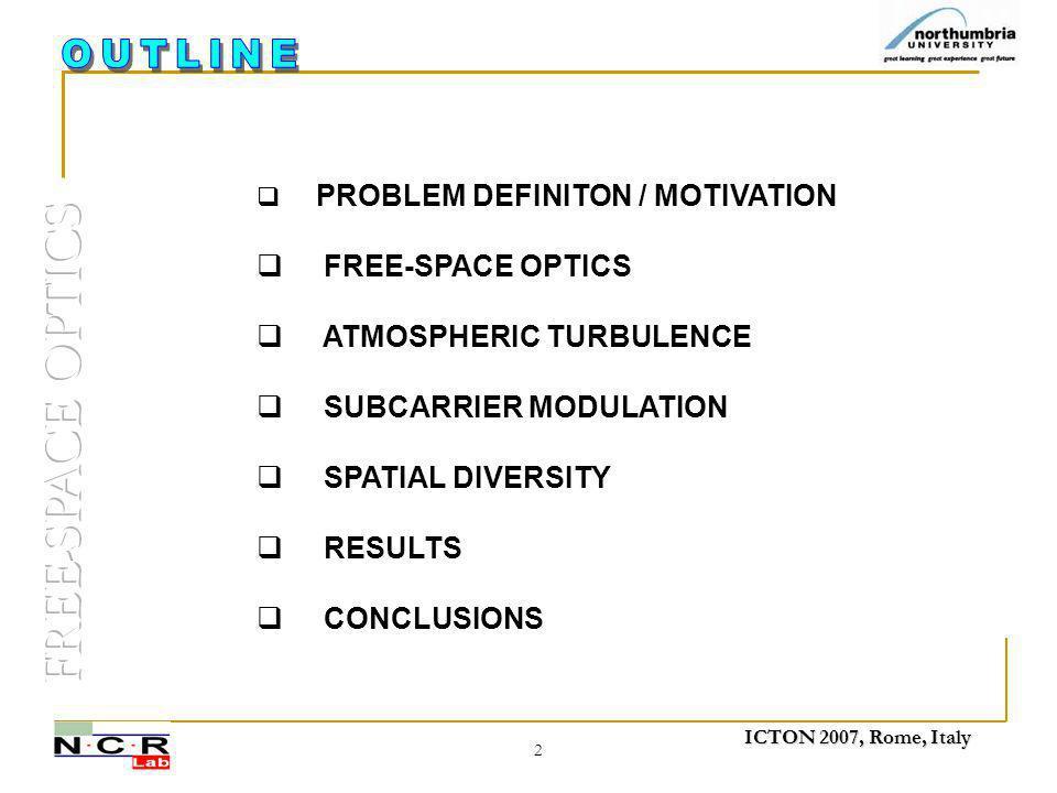 ICTON 2007, Rome, Italy 2  PROBLEM DEFINITON / MOTIVATION  FREE-SPACE OPTICS  ATMOSPHERIC TURBULENCE  SUBCARRIER MODULATION  SPATIAL DIVERSITY 