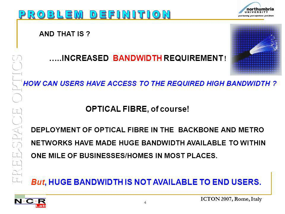 ICTON 2007, Rome, Italy 4 …..INCREASED BANDWIDTH REQUIREMENT .