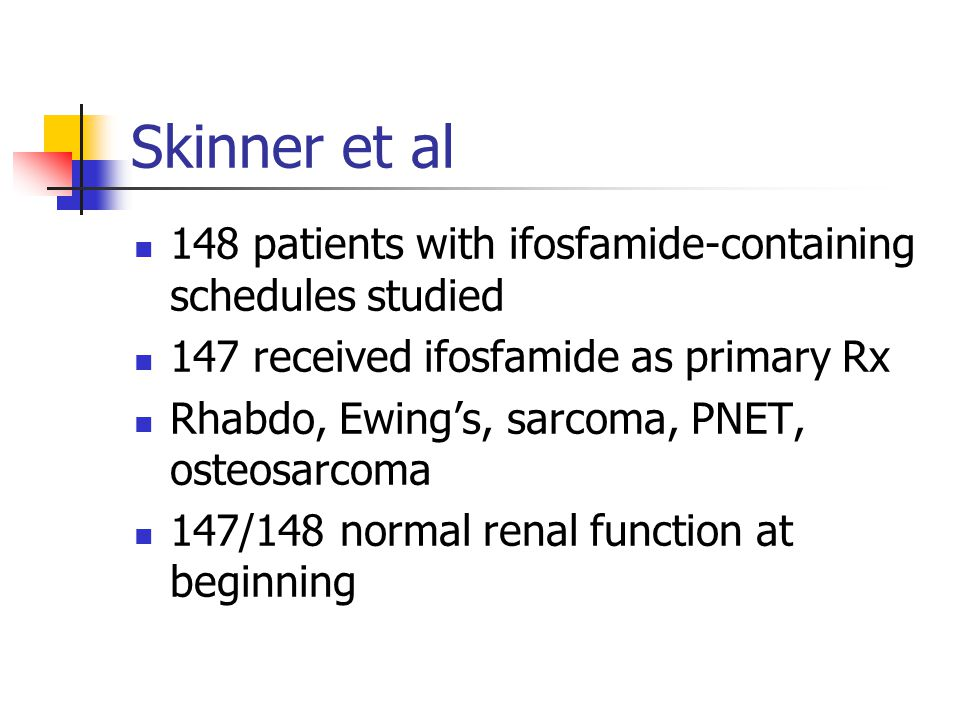 Skinner et al 148 patients with ifosfamide-containing schedules studied 147 received ifosfamide as primary Rx Rhabdo, Ewing's, sarcoma, PNET, osteosar