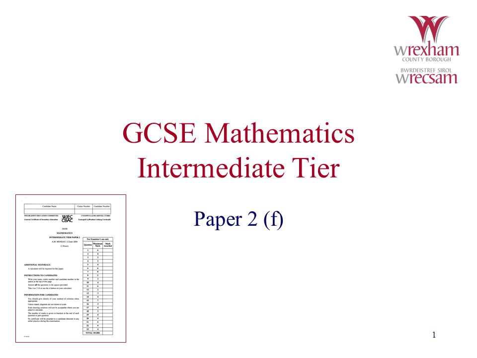 1 GCSE Mathematics Intermediate Tier Paper 2 (f)