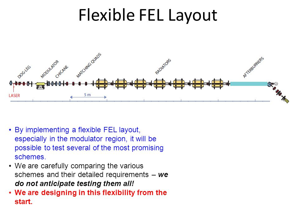 Flexible FEL Layout By implementing a flexible FEL layout, especially in the modulator region, it will be possible to test several of the most promising schemes.