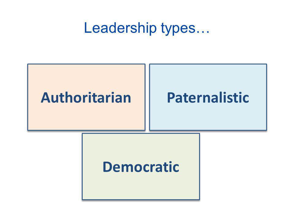 Leadership types… Authoritarian Paternalistic Democratic