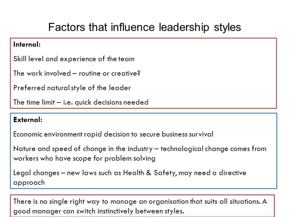 Internal: Skill level and experience of the team The work involved – routine or creative? Preferred natural style of the leader The time limit – i.e.