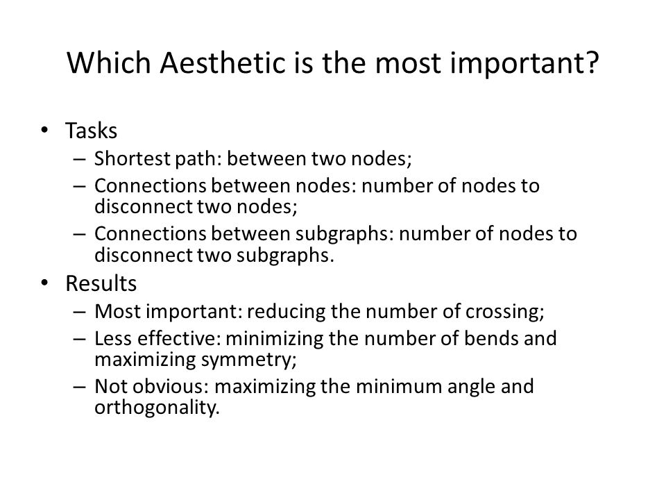 Which Aesthetic is the most important? Tasks – Shortest path: between two nodes; – Connections between nodes: number of nodes to disconnect two nodes;