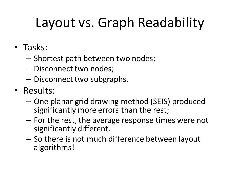 Layout vs. Graph Readability Tasks: – Shortest path between two nodes; – Disconnect two nodes; – Disconnect two subgraphs. Results: – One planar grid