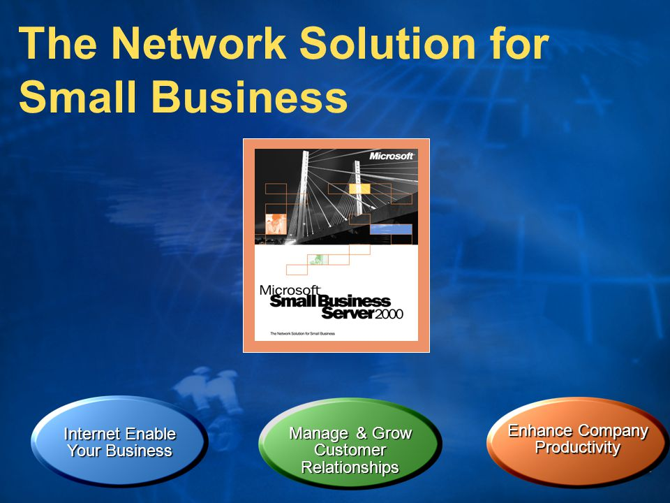 Internet Enable Your Business The Network Solution for Small Business Enhance Company Productivity Manage & Grow CustomerRelationships