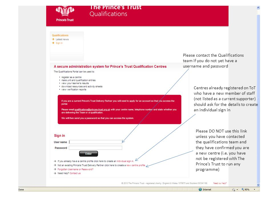 Step 2 – Getting Started When you first log in you must complete the Fast Track form for your centre.