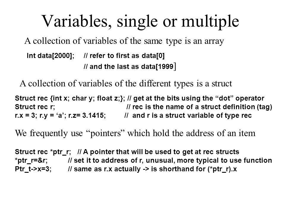 Variables, single or multiple A collection of variables of the same type is an array A collection of variables of the different types is a struct Int
