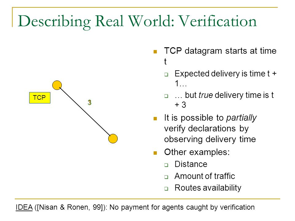 Describing Real World: Verification TCP datagram starts at time t  Expected delivery is time t + 1…  … but true delivery time is t + 3 It is possibl