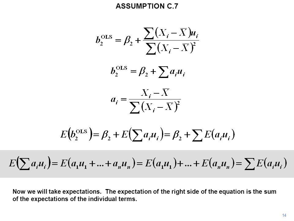 14 Now we will take expectations. The expectation of the right side of the equation is the sum of the expectations of the individual terms. ASSUMPTION